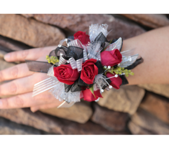 Red Rose Bling Corsage in Meridian ID, Meridian Floral & Gifts