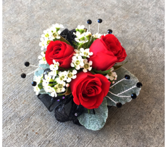Red Black & White Wrist Corsage in Schofield WI, Krueger Floral and Gifts