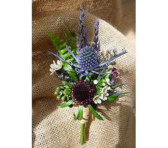 Wildflower Thistle Boutonniere in West Los Angeles CA, Westwood Flower Garden