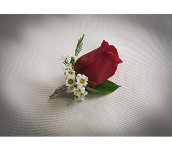 Red Rose Boutonniere in Rogers AR, Shirley's Flower Studio
