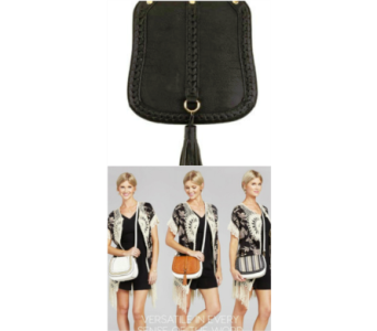 Pursona Bag Flap Black Tassel in Virginia Beach VA, Fairfield Flowers