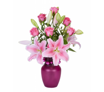 Pink Lilies and Roses Explosion in Oviedo FL, Oviedo Florist