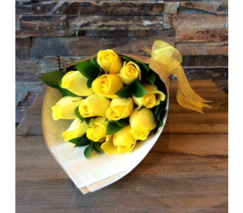 Yellow Presentation Style Roses in Chatham ON, Pizazz!  Florals & Balloons