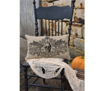 Heritage Lace, Gothic Skull Pillow 20X12   in Bellevue WA, CITY FLOWERS, INC.
