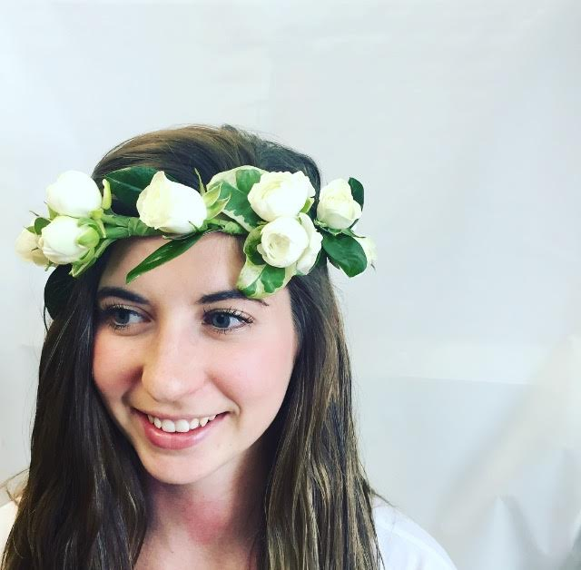 White Rose Delight Hair Crown in West Los Angeles CA, Sharon Flower Design