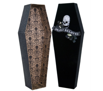 Katherine�s Collection black Velvet Coffin Box in Bellevue WA, CITY FLOWERS, INC.