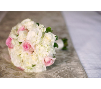 White & Pink Bridal Bouquet in Somerset NJ, Flower Station
