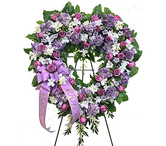 Purple & White Open Heart in Somerset NJ, Flower Station