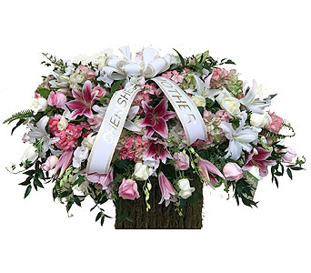 Pink & White Casket Spray in Somerset NJ, Flower Station