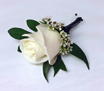 Single White Rose Boutonniere in Aurora ON, Caruso & Company