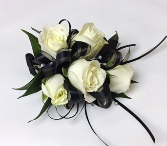 5 Mini White Rose Corsage in Aurora ON, Caruso & Company