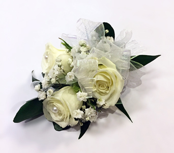 3 White Rose Corsage in Aurora ON, Caruso & Company