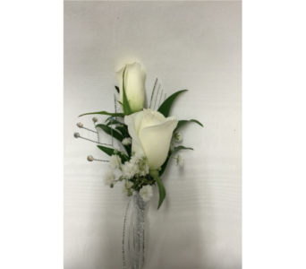 White Sweetheart Rose Boutonniere in Dearborn MI, Fisher's Flower Shop