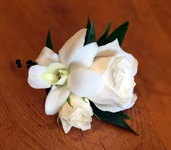 White Rose & Dendro Boutonniere in Aurora ON, Caruso & Company