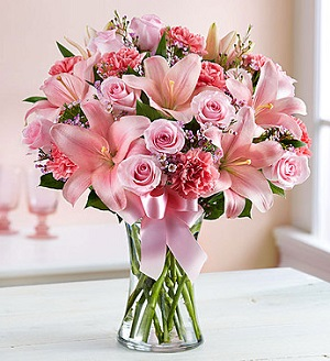 Expressions of Pink in Mount Morris MI, June's Floral Company & Fruit Bouquets