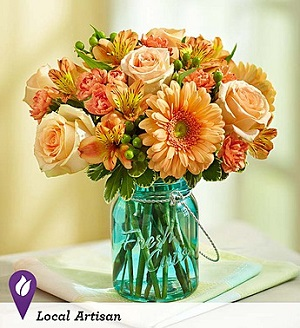Perfectly Peach in Mount Morris MI, June's Floral Company & Fruit Bouquets
