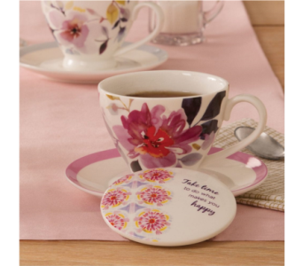 Take Time China Teacup Set in Eugene OR, Dandelions Flowers
