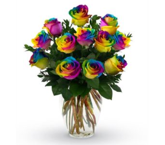 Time to Celebrate Rainbow Rose Bouquet in Norfolk VA, The Sunflower Florist