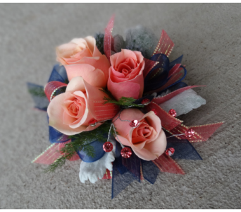 Blue & Blush Wrist Corsage in Schofield WI, Krueger Floral and Gifts