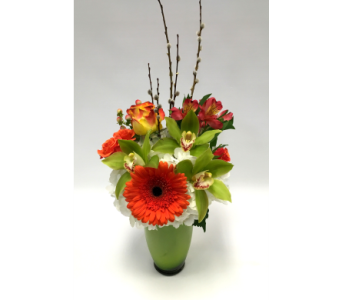 Orange & Green Delight in Belleville ON, Live, Love and Laugh Flowers, Antiques and Gifts