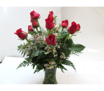 Dozen Red Roses with waxflower in Worcester MA, Holmes Shusas Florists, Inc