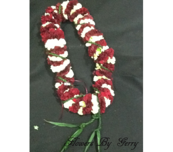 Burgundy & White Carnation w/ Ti Leaf in Brentwood CA, Flowers By Gerry