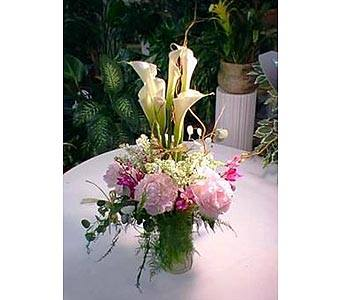 Calla lily and Peonies Arrangement in West Los Angeles CA, Sharon Flower Design