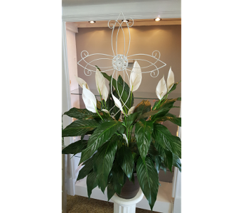 LILY WITH WHITE METAL CROSS in The Villages FL, The Villages Florist Inc.