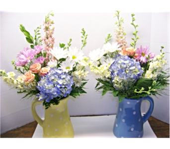 PASTEL PITCHER SILK FLOWERS in Claremont NH, Colonial Florist