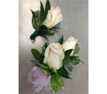 2 cream rose 1 rose boutonere set  in Markham ON, Metro Florist Inc.