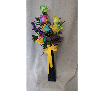 Multi-Colored Roses in Newton KS, Designs By John Flowers & Tuxedos, Inc