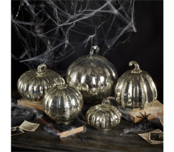 Ribbed Glass Pumpkins with Etching in Bellevue WA, CITY FLOWERS, INC.