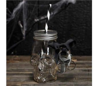 TWO�S COMPANY SKULL CUP WITH OPENER AND STRAW in Bellevue WA, CITY FLOWERS, INC.