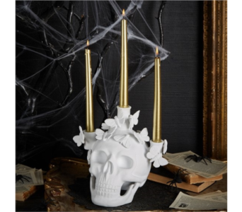 Two�s Company Skull Tapered candle holder in Bellevue WA, CITY FLOWERS, INC.