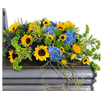 Sunflower Casket Spray in Baltimore MD, Raimondi's Flowers & Fruit Baskets