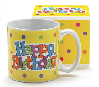 Festive Happy Birthday Mug in Princeton, Plainsboro, & Trenton NJ, Monday Morning Flower and Balloon Co.