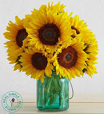 Sunflower Mason Jar by Real Simple in Las Vegas NV, A French Bouquet