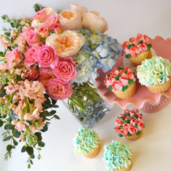 Frosted Floral   Blooming Cupcakes in Dallas TX, Dr Delphinium Designs & Events