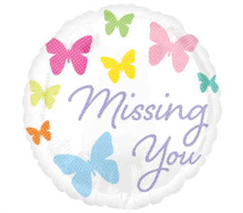Missing You Butterflies Mylar Balloon in Norristown PA, Plaza Flowers