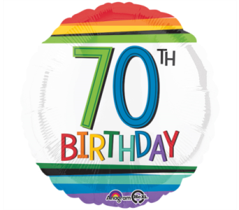 Rainbow 70th Birthday Mylar Balloon in Norristown PA, Plaza Flowers