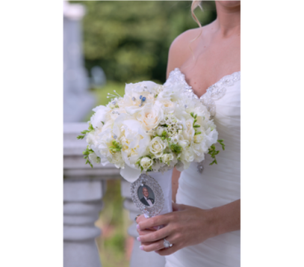 White Bridal Bouquet with Charm in Somerset NJ, Flower Station