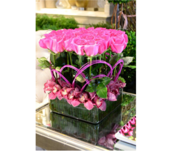 Pink roses and Orchids in San Antonio TX, Blooming Creations Florist