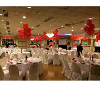 Red Balloon Centerpieces in Somerset NJ, Flower Station