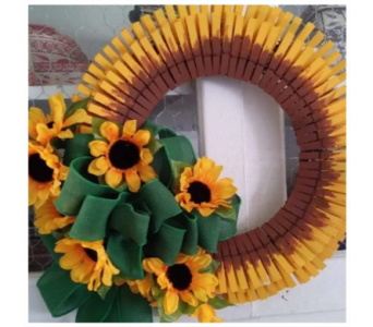 Sunflower Wreath Workshop in Amelia OH, Amelia Florist Wine & Gift Shop
