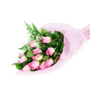 Wrapped Pink Roses in San Antonio TX, Blooming Creations Florist