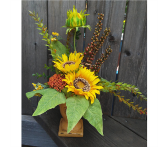 Sunflower Pedestal in Lawrence KS, Owens Flower Shop Inc.