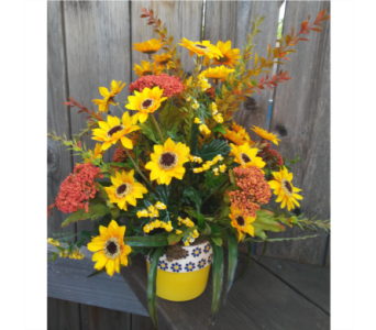 Sunflowers in Daisy Pot in Lawrence KS, Owens Flower Shop Inc.
