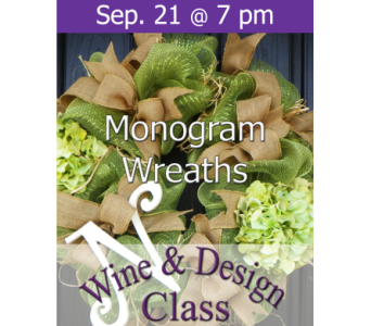 Monogram Wreaths 9/21 in Norristown PA, Plaza Flowers