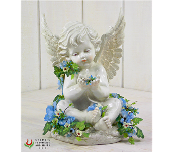Angel Holding Bird w/Flowers in Indianapolis IN, Steve's Flowers and Gifts