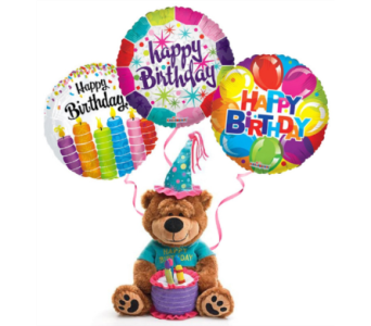 Birthday Bear with 3 Balloons in Princeton, Plainsboro, & Trenton NJ, Monday Morning Flower and Balloon Co.